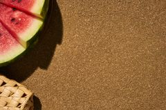 Three slices of fresh red watermelon and a summer bag Stock Photo