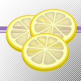 Three slices of lemon Stock Images