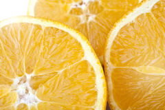 Three slices of orange. Closeup studio photo of  orange slices  nice and juicy isolated on white background Stock Photo