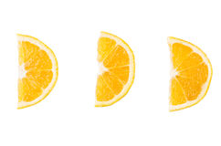 Three slices of orange on a white background royalty free stock photo