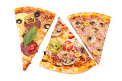 Three slices of pizza royalty free stock image
