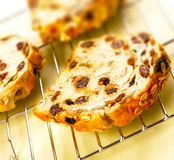 Three slices of raisin bread Stock Photo
