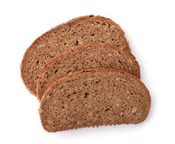 Three slices of rye bread with bran Stock Photos