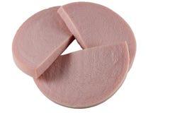 Three slices of salami Royalty Free Stock Photo