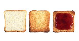Three slices of toast bread stock photography