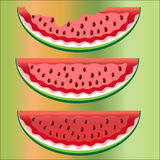 Three slices of watermelon with bones, whole, two bitten. On a colored background Royalty Free Stock Images