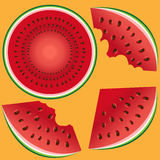 Three slices of a watermelon with stones, the whole, two bitten and a watermelon in a cut. On a color background Stock Photos