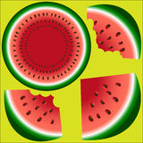 Three slices of a watermelon with stones, the whole, two bitten and a watermelon in a cut. On a color background Royalty Free Stock Photography