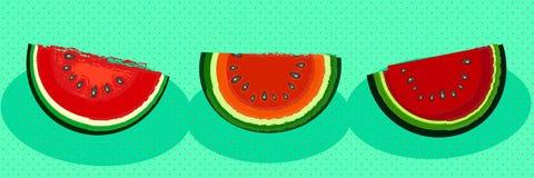 Three slices of watermelon Stock Photos