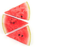 Three slices of watermelon, on white Royalty Free Stock Photo