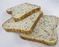 Three Slices of Wholegrain Bread. Royalty Free Stock Images