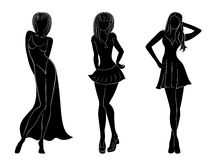 Three slim attractive women silhouettes. Three slim attractive women black silhouettes with white contours, hand drawing vector artwork Stock Illustration