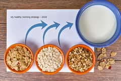 Three small bowls with different cereals and bowl with milk, business strategy, decision making, choice. Business metaphor Royalty Free Stock Photo