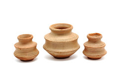 Three small clay pots Royalty Free Stock Images