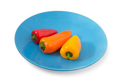 Three small colorful peppers on a blue plate Stock Photo