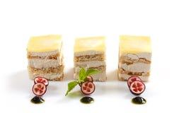 Three small dessert cakes Royalty Free Stock Photography