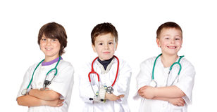 Three small doctors royalty free stock images