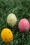 Three small easter eggs nestled in the grass. Three small easter eggs nestled in the green grass Stock Images