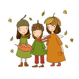 Three small forest fairies in the caps of the cones and leaves. Hand drawing  objects on white background. Vector illustration Stock Images