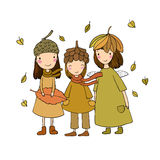 Three small forest fairies in the caps of the cones and leaves. Hand drawing  objects on white background. Vector illustration Royalty Free Stock Image
