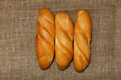 Three small freshness baguette on the bagging Stock Photo