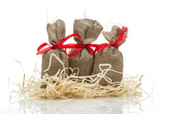 Three small gift sacks Royalty Free Stock Image