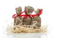 Three small gift sacks Royalty Free Stock Image