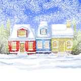 Three small house in a village near the winter forest. winter card Stock Image
