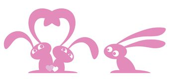 Three small pink rabbit. On a white background Vector Illustration