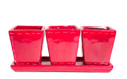 Three small red flower pots Stock Images