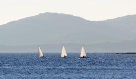 Three small sail boats Stock Image