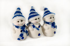 Three small snowmen Royalty Free Stock Photo