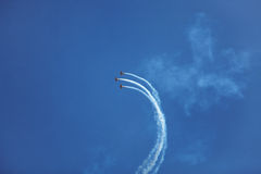 Three small sport airplane flying high in the sky Royalty Free Stock Photo