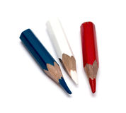 Three small used colored pencils Stock Photography