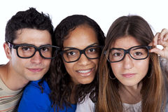 Three smart student friends Royalty Free Stock Photo