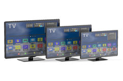 Three smart tv with different diagonal Royalty Free Stock Image