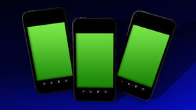 Three smartphones Stock Photo
