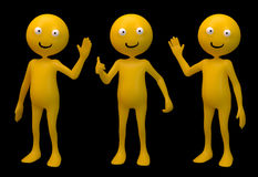 Three smiley 3d characters. Isolated on black Royalty Free Stock Photos