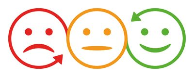Three smilies with arrow -  Royalty Free Stock Images