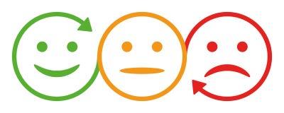 Three smilies with arrow Royalty Free Stock Photo