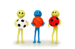 Three smilies with footballs Royalty Free Stock Photography