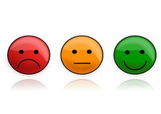 Three smilies from the semaphore. Three smilies as an illustration of traffic light Royalty Free Stock Photography
