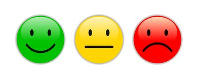 Three smilies - for stock. Three colored smilies - for stock Royalty Free Stock Image