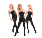 Three smiling blondes in black, collage Stock Images