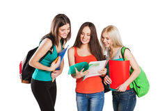 Three smiling college students friends with Stock Images