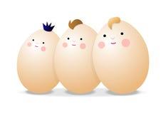 Three eggs. Three smiling eggs, cartoon illustration Royalty Free Stock Image