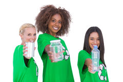 Three smiling enviromental showing matierials Stock Images