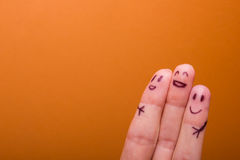 Three smiling fingers that are very happy to be Stock Photography