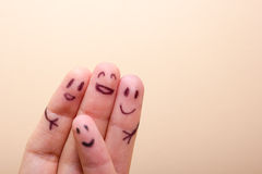 Three smiling fingers that are very happy to be Royalty Free Stock Photo