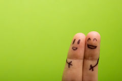 Three smiling fingers that are very happy to be Royalty Free Stock Images